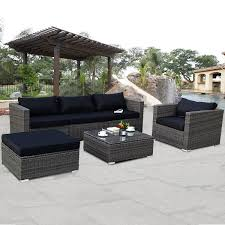 patio furniture. Costway 6-piece Rattan Wicker Patio Furniture Set Sectional Sofa Couch Yard  W/Black Patio Furniture