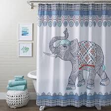 attractive elephant pattern white blue red shower curtains target and shower curtain