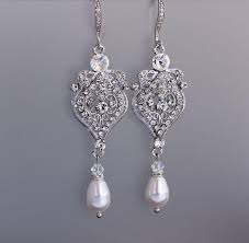 crystal and pearl drop chandelier earrings art deco crystal bridal earrings wedding jewelry bridal jewelry bridesmaid earrings lucy