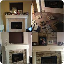 classy fireplace surrounded with brick by airstone plus white mantel kit for home decoration ideas