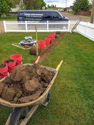 sump pump discharge hoses carefully rolled back sod we take great care to ensure your property sump pump