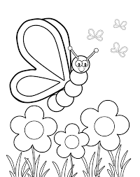 Small Picture Butterfly Viewing Flowers Coloring Page Kids Coloring Pages