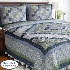 Blue Ridge Valley Green and Blue Patchwork Quilt &  Adamdwight.com