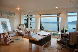 Home Art Studio Decoration in Various Style : Modern Home Art Studio With  Beautiful View