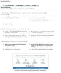 Sample Business Continuity Plan For Banks Quiz Worksheeting