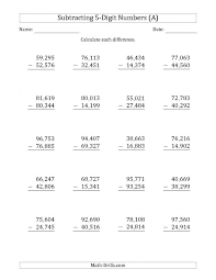 solving equations with addition and subtraction worksheets 5 digit minus subtraction with comma separated thousands