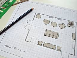 graph paper floor plan with furniture layout