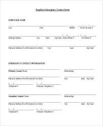 Emergency Contact Printable Free Printable Employee Emergency Contact Form Shared By Kiersten