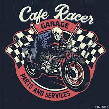 Fotografie Obraz Skull Riding Cafe Racer Motorcycle In Textured