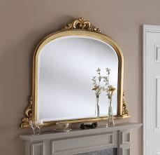 arched decorative overmantle framed mirror