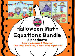 fall math two step equations maze color by number