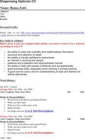 Optician Resumes 6 Optician Resume Templates Free Download