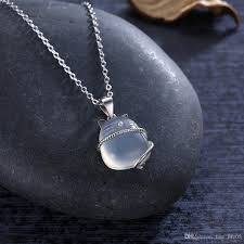 2019 women child 925 sterling silver cat moonstone pendant necklace clear crystal chain natural stone jewelry collares mujer from free life05
