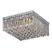 small crystal chandelier ceiling light chrome quadrato