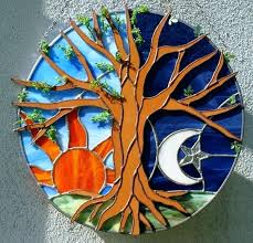 stained glass tree of life earth tree sea and sky in stained glass from a touch stained glass tree of life