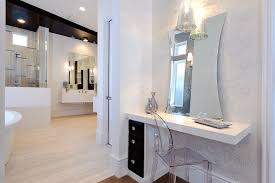 vanity dressing table bathroom contemporary with baseboards boudoir dressing table floating vanity ghost chair neutral colors bathroom makeup lighting