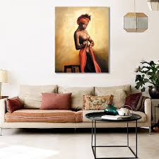 com y african americans girl printed painting on canvas wall art prints picture for home decoration or hotel framed 50x60cm posters