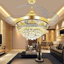 lighting for high ceiling. COLORLED Modern Crystal Gold Ceiling Fan Light Kit For Living Room Bedroom  42-Inch Four Telescopic Blades Chandeliers Lighting Fixture (Gold) Lighting High Ceiling U