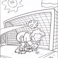 Kleurplaat Voetballer Schiet Op Doel Voetbal Kleurplaat