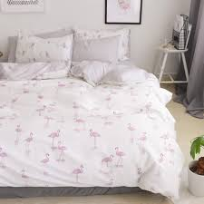 cotton grey solid color sheets flamingo duvet cover set bedding sets queen king size s hot