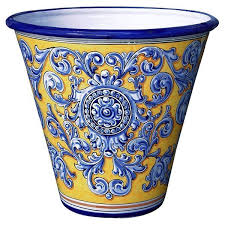 15 inch ceramic garden planter yellow