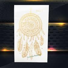 What Stores Sell Dream Catchers 100PC Hot Sale Gold Dreamcatcher Tattoo Flash Metallic Dream Catcher 41