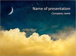 Moon And Cloudy Sky Powerpoint Template Infographics Slides