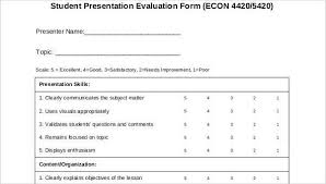 Evaluation Form Template Student Evaluation Form Template