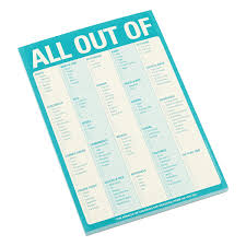 All Out Of Shopping Checklist Pad