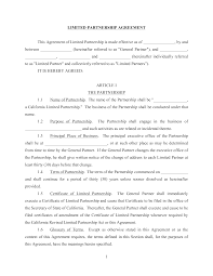 Limited Partnership Agreement Template Free Limited Partnership Agreement Templates At