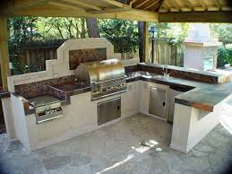 Cinder Block Outdoor Kitchen Bar Rang Hood Flagstone Floor And Traditional Pergola Natural