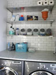 Bathroom:Tinny Laundry Room Design With Chic Marble Washing Machine  Countertop And Wall Mounted Stainless