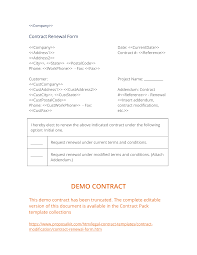 Project Contract Templates Contract Renewal Form