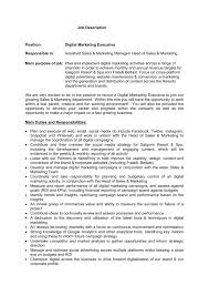 Roles Of A Sales And Marketing Manager Job Description Position Digital Marketing Executive