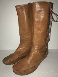 details about frye tall lace up moccasin cognac leather boots women s size 7
