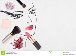 hand drawn woman face and make up s