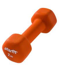 <b>Гантель</b> Starfit <b>неопреновая DB</b>-<b>201 2</b> кг, цвет: оранжевый