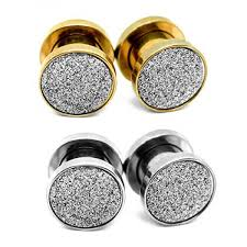 Body Jewelry Gauge Conversion Chart Jforyou 2 4 Pair Ear Flesh Tunnels Stainless Steel Glitter