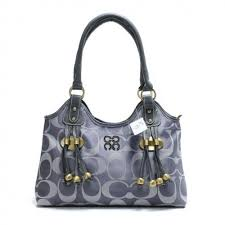 Coach Fashion Monogram Large Grey Satchels BUF