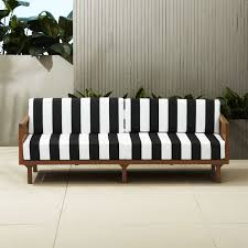 Colored wood patio furniture Diy Kevinjohnsonformayor Tropez Black And White Stripe Outdoor Sofa Reviews Cb2