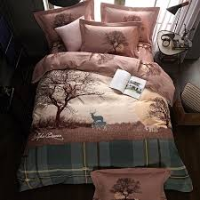nordic plaid deer bedding set queen king size winter brushed cotton duvet covers bed sheets with pillowcase bedroom textiles bedding duvet boys bedding set