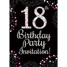 Invitations 18th Birthday Pink Invitation Cards Small Size 95cm X