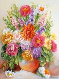 mixed media flower paintings handmade bouquet with dahlia ribbon embroidery my livemaster autumn bouquet