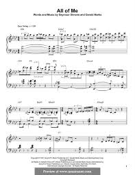 all of me sheet music piano easy all of me by s simons g marks sheet music on musicaneo