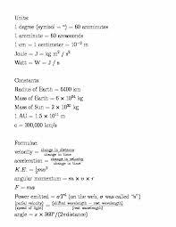 astronomy formula sheet