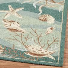 seafoam green area rug. Unique Seafoam Area Rug Seashells Hand Hooked Rugs Green G