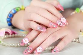 Pink Nail Art Design Baby Pink Ombre Color With Flower Nail Art Design Picture