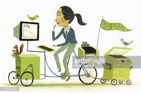 eco friendly office. businesswoman driving ecofriendly office bicycle stock illustration getty images eco friendly