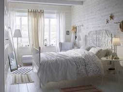 ikea bedroom furniture white. A White Small Bedroom Furnished With Romantic Metal Bed For Two Combined Side Tables Ikea Furniture