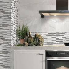 white kitchen wall tiles. White Stone Effect Tiles Kitchen Wall